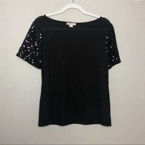 Sparkly Sleeve Black Top // Cotton On
